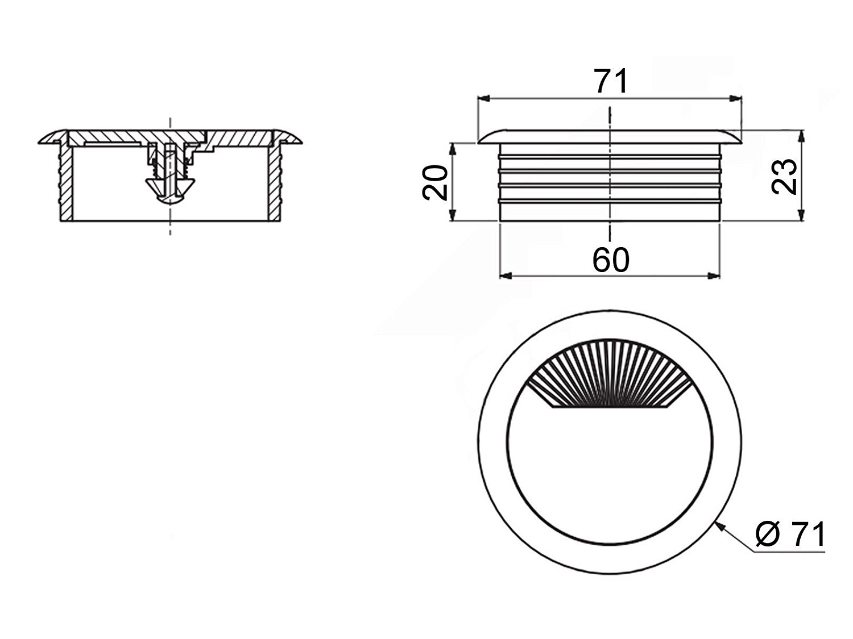 Kabeldurchlass 60 mm Silber Kunststoff