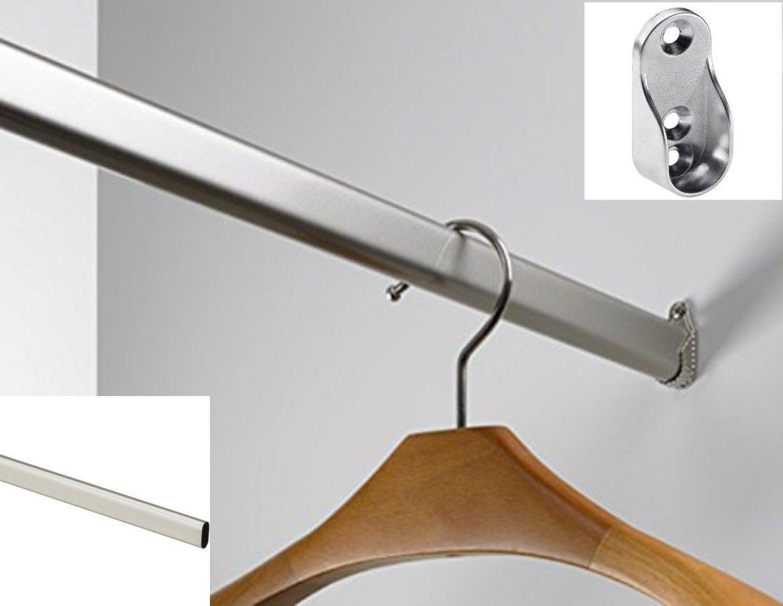 170 cm Kleiderstange 30 x 15 mm inkl. Schrankrohrlager Garderobe Kleiderschrank