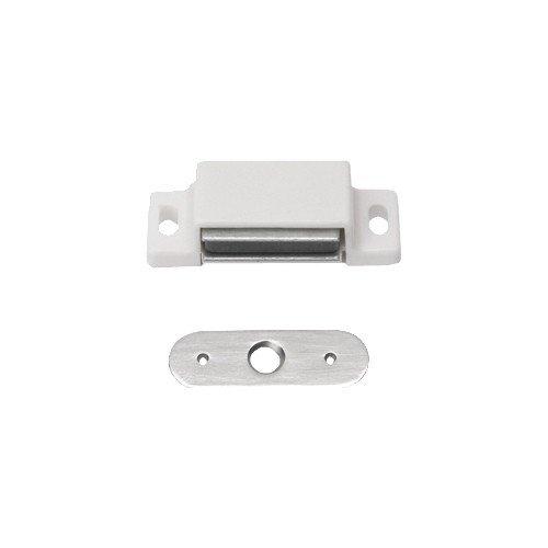 2 Stück Magnetschnäpper Schrankschnäpper Möbelschnäpper weiss mit Metall Gegenplatte,5-6 kg Haltekra