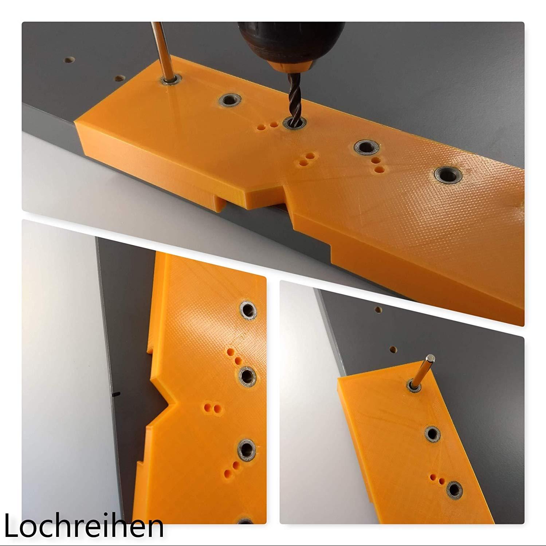 Flex.One Flexible Kombi. Bohrschablone Bohrlehre Lochreihe Kreuz-Montageplatten u. Topfscharniere