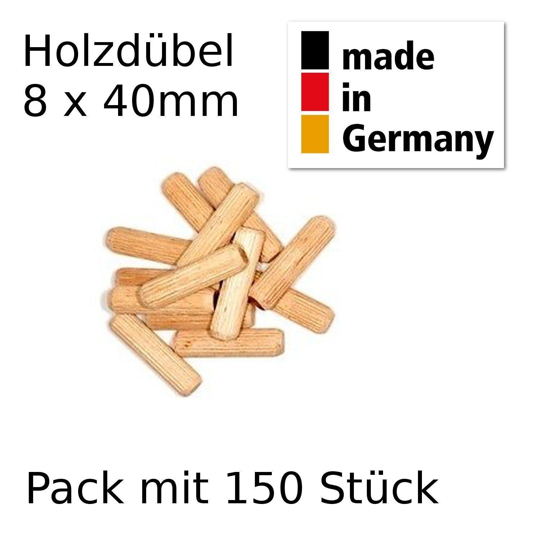 150 Stück 8x40 mm Holzdübel Riffeldübel Dübelstange Buche Dübel Holzverbinder
