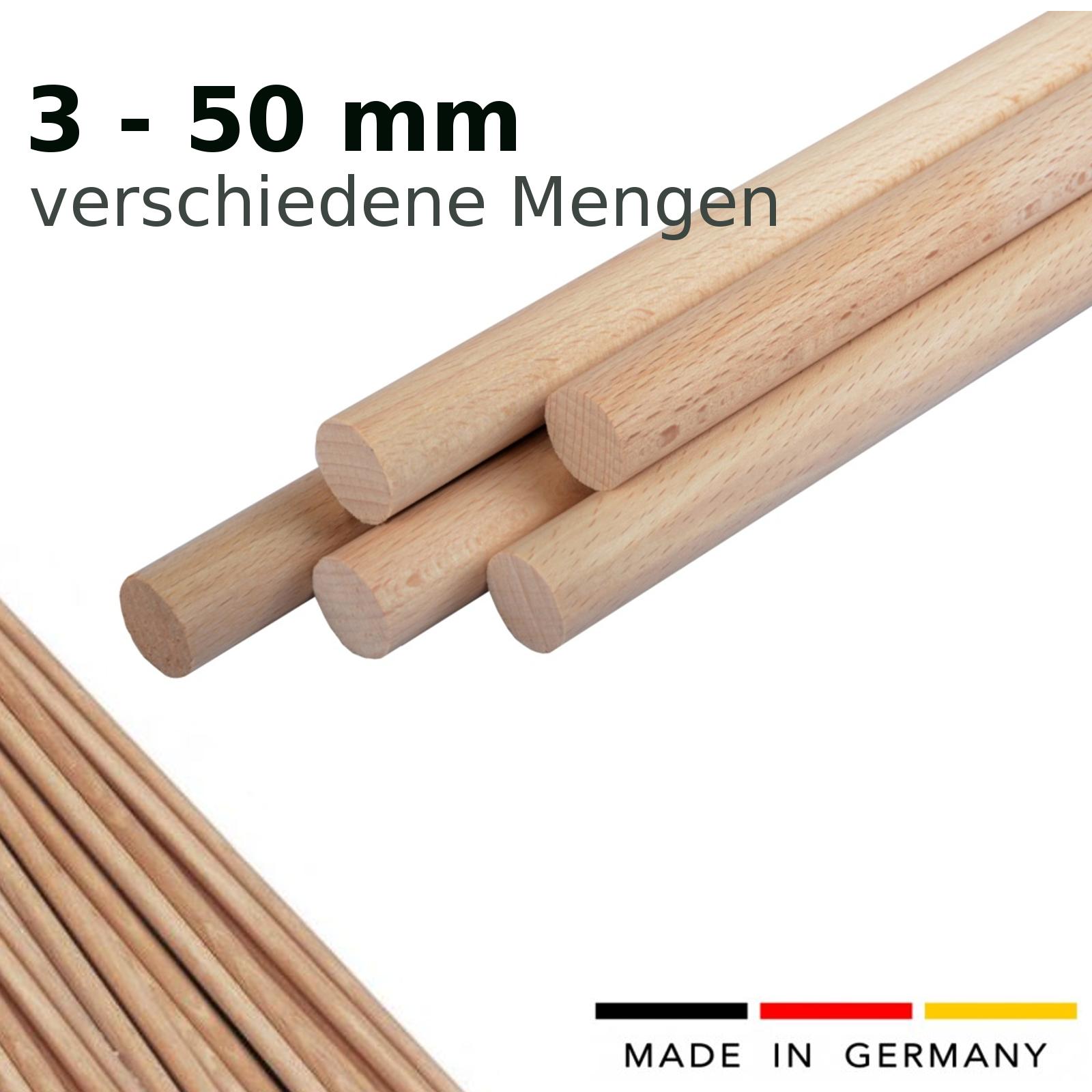 50 er Set - 50 Stück Rundstab Buche glatt - Rundstäbe - Buchestab (50 Stck)
