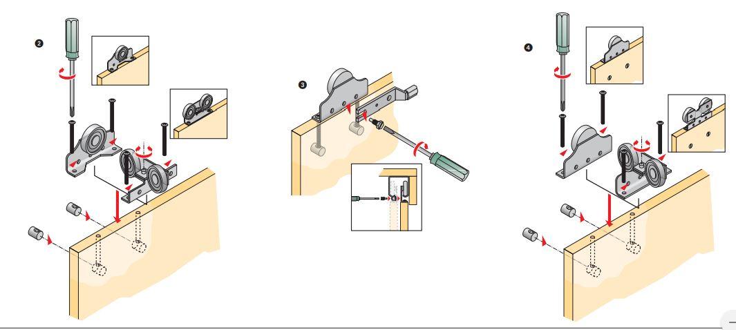 Livindo 2 Stck. Laufteil für Schiebetürbeschlag mit Schrauben Schwebetüren-Kleiderschrank Hettich To